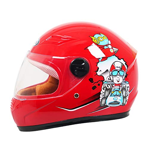 QZH Niños Casco De La Motocicleta, La Cara Llena Casco De La Vespa A Prueba De Viento Calentar Babero Reflectante De Advertencia En La Noche del Ciclomotor Casco De La Moto para Niño Niña,Rojo