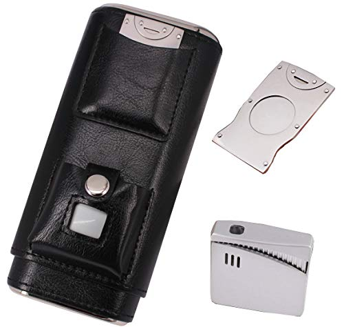 AMANCY Elegant 3 Holder Black Cigar Case Combo Set with Lighter and Cutter Perfect Completed Gift Kit