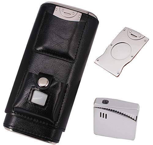 Monogram Personalized Black Leather 4 Finger Cigar Case Cedar Lining Initial M