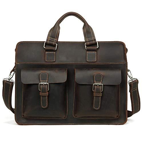 DLQX Men's Leather Briefcase,Large Capacity Handbag,Portable Business Laptop Bag,Suitable For Outdoor Walking(Many Colors)(Color:C)