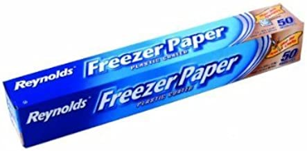 2 X Reynolds Freezer Paper 50 sq ft/ 4.64 m sq 12.1 m x 381 mm Plastic Coated Freezer Paper, White by Reynolds Freezer Paper