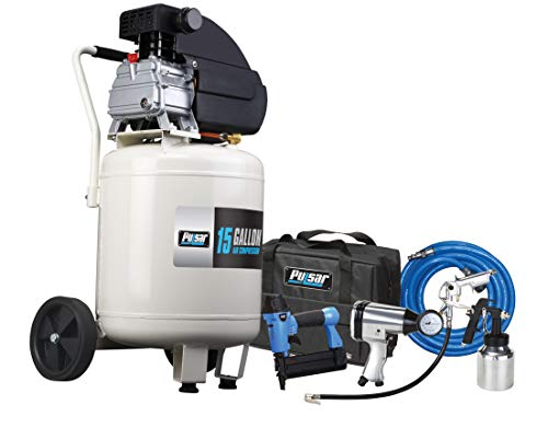 Pulsar 15 Gallon Vertical Tank Portable Electric Air Compressor with Accessories & Added Tool Kit, PCE6150VK
