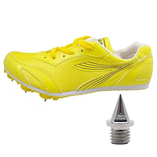 X/L Zapatos de Atletismo con Clavos para Hombre y Mujer Zapatillas de Entrenamiento Sprint para Niños y Niñas con Uñas Cortas Extra Puntiagudas(Size:34 EU,Color:Amarillo)