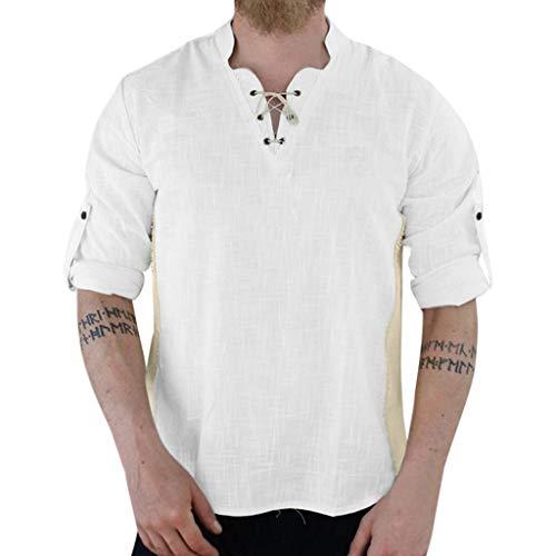 serliy😠Herren Casual T-Shirt Baumwolle Yoga Shirt Hippie Fisherman Sommerhemd Top Leinenhemd luftig schnelltrockend Daily Look Leinenhemden Sommer Tops
