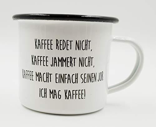 PICSonPAPER Emaille Tasse mit Spruch Kaffee redet Nicht, Geschenk, Edelstahl-Becher, Metall-Tasse, Campingbecher, Kaffeetasse