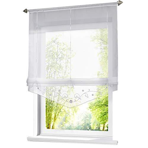 ESLIR Raffrollo mit Schlaufen Raffgardinen Gardinen Küche Transparent Schlaufenrollo Vorhänge Bestickt Modern Voile Weiß BxH 80x140cm 1 Stück