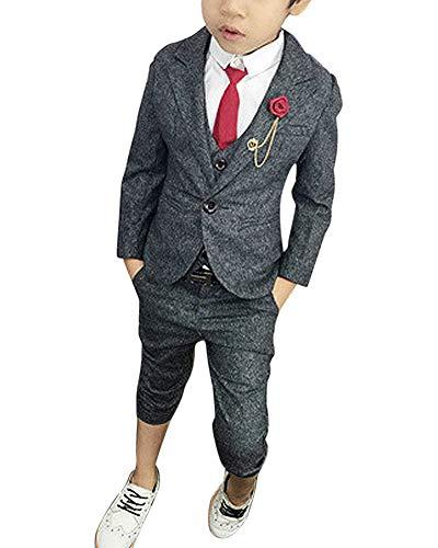 ShiFan 3 Teilig Kinder Anzug Jungen Festlich Kommunionsanzug Taufanzug Mit Gürtel Und Brosche Grau 130