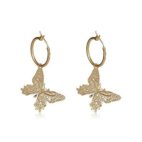 CYXL Salvaje Delicada Oreja de Mariposa Hueca Anillos de la aleación aretes de Gota for el oído Pendiente de Las Mujeres Accesorios de la joyería, 1 par (Color : Oro)