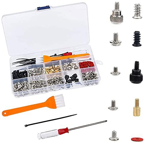 Juego de tornillos para ordenador, 330 piezas PC Screw Kit, con destornillador, cepillo de limpieza antiestático, tornillos de separación para placa base, disco duro y ventilador de ordenador