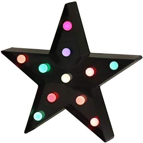 LED Nachtlicht Hochwertige Kunststoff Schöne Stern Batteriebetriebene LED Festzelt Zeichen Dekorative Tischlampen für DIY Dekoration Weihnachten, Halloween Party Hochzeit Ostern, Schwarz