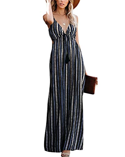 ZANZEA Womens Summer Backless Maxi Dress Adjustable Spaghetti Strap Tie Back Casual Sexy V Neck Long Beach Sundress 13 Flower Blue S