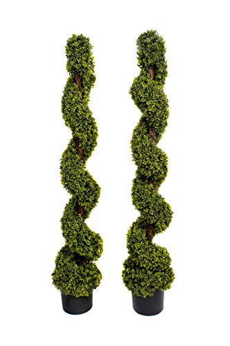 2 x Artificial Topiary Boxwood Spiral Trees (5ft/150cm)