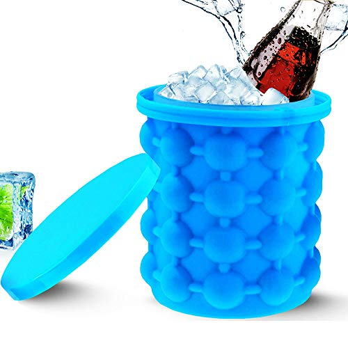 HVT183 Ice Bucket, Ice Buckets Portable 2 In 1 Large Silicone Ice Bucket Mold With Lid Space Saving Cube Maker Tools For Kitchen Party Ice Buckets For Parties Insulated