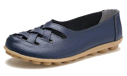 Eagsouni Damen Mokassins Bootsschuhe Leder Loafers Schuhe Flatschuhe Halbschuhe Flache Fahren Halbschuhe Slippers,Dunkelblau,42 EU