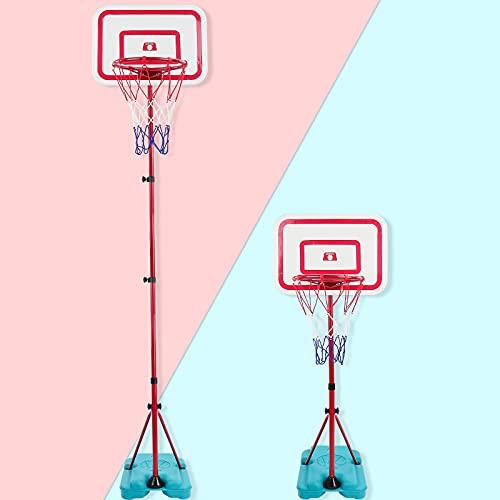 TONZE Panier de Basket Enfant Exterieur Interieur - (88cm/138cm/190cm) Ensemble de Basketball Portable et Réglable avec Filet et Ballon Jeux Exterieur Enfant