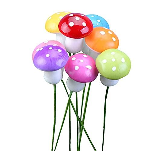 LIXBD Mini-Pilz-Miniaturen, künstlicher Garten, Fee, Bonsai, Blumentopf, Kunstharz, Basteln, Dekoration für Zuhause, DIY, Mikro-Landschaftsdekoration (rot) (Farbe: gemischte Farben)