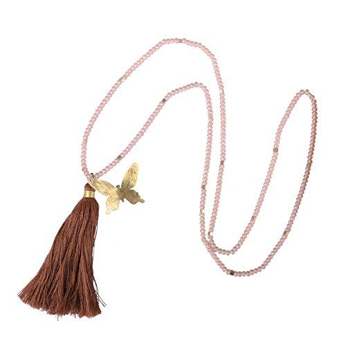 KELITCH Lange Quaste Halsketten Zum Frau Männer Kristall Perle Kette Strang Halskette Mit Schmetterling Dunkel Braun Quaste Anhänger