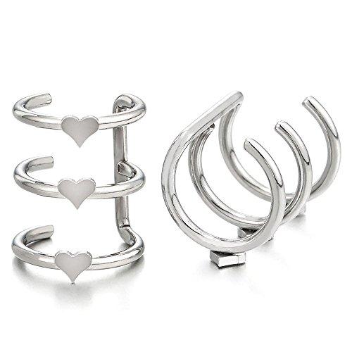 Plata Color 2 Piezas Clip de Oreja, Clip-on Pendientes del Aro con Corazón, para Mujer Niñas, Acero Inoxidable