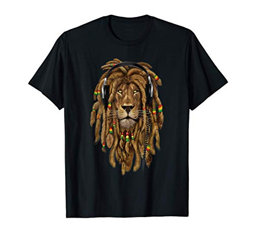 Rasta Lion Dreadlocks Reggae Cool regalo per Rastafari Lover Maglietta
