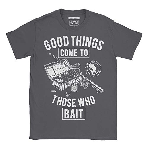 6TN Men's Good Things Come to Those Who Bait Fishing Themed T Shirt (Large) Charcoal