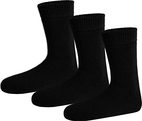 Polar Husky® 3 Paar Nie Wieder kalte Füße Wintersocken - super-dick und sehr warm Farbe Socken Schwarz Größe 39/42