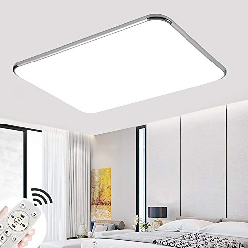 72W Plafon led de techo Regulable 5760LM Plafon LED Techo Cuadrad Iluminación interior para Dormitorio Comedor Cocina Balcón Marco de Aluminio Plateado [Clase de eficiencia energética A++]