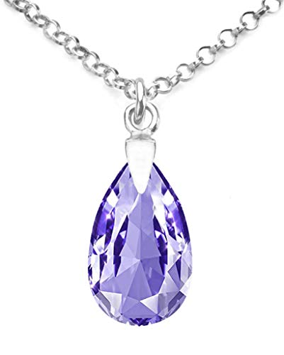 GIFTBOXED! Ah! Jewellery Women's 16mm Tanzanite Pear Crystal Necklace With A 45cm Long Anchor Chain. Genuine Highly Polished Sterling Silver, Stamped 925.