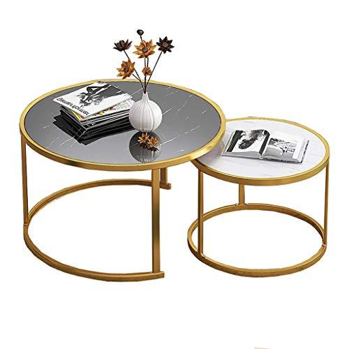 SH-tables Mesa De Centro, Juego De 2, Mesa Redonda, Mesa De Sofá Moderna, Mesa De Café Simple con Pies De Metal, Combinación De Mesa De Comedor, Balcón (Color : A)