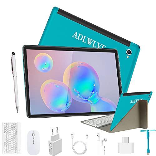 Tablet 10 Pulgadas Android 9.0 - Tableta 4GB RAM 64GB ROM con Procesador Quad Core Núcleos | WiFi | Bluetooth | GPS |OTG | Netflix, MicroSD 4-128 GB, con Estuche Teclado/Mouse/Funda Tablet (Azul 1)