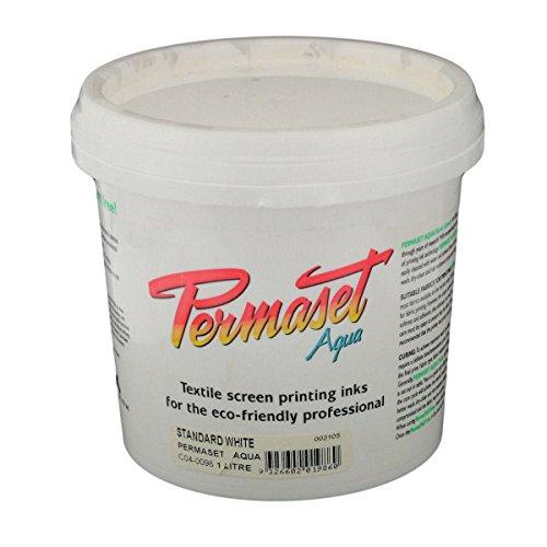 Permaset Aqua - Tinta para serigrafía textil (1 L, ecológico, tinta blanca)