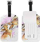 Watercolor Foxes Kiss Gepäckanhänger Reise-ID-Etikett Leder für Gepäck Koffer 1 Stück