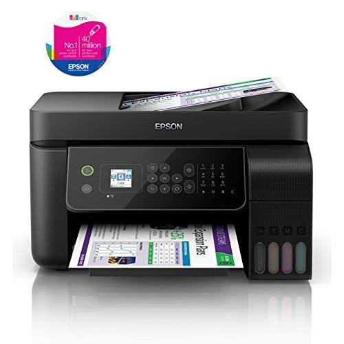 Epson EcoTank ET-4700 Stampante Multifunzione Inkjet a Colori 4-in-1, Stampa, Scansione, Copia, Fax, Funzionalità ADF ed Ethernet, LCD da 3.7 cm, Nero