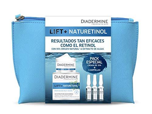 Diadermine - Neceser Lift+ Naturetinol - Crema de Día Lift+ Naturetinol 50 Mililitros + Ampollas Lift+ Naturetinol - Regenera, Reduce las Arrugas y Unifica el Tono de la Piel, 59 Gramos