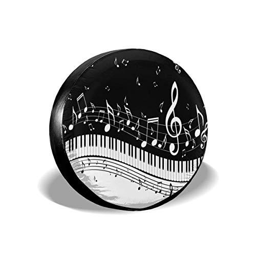 ulxjll Spare Tire Wheel Cover Abstract Piano Music Note Langlebige Reifenabdeckungen Ersatzreifenabdeckung Druck Staubdicht 4 Größen wasserdichte Universal-Radabdeckung Für Jeep SUV Truc