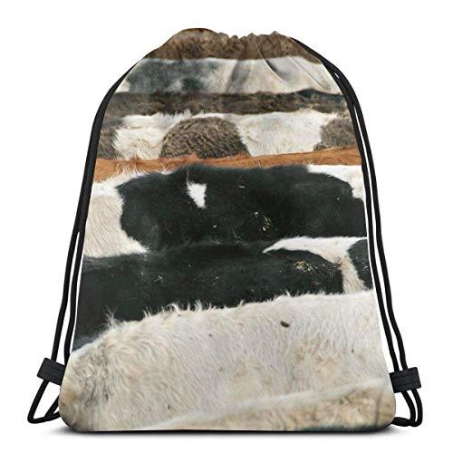 Mochila de deporte plegable impermeable de la textura de la vaca del escondite del deporte del saco del gimnasio del saco del cordón