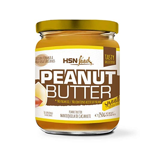 HSN Mantequilla de Cacahuete Textura Suave y Cremosa - Peanut Butter Smooth - 100% Natural | Apto Vegetariano, Sin Grasa de Palma, Sin Grasa Trans, Sin azúcar ni Sal añadidos, 250g