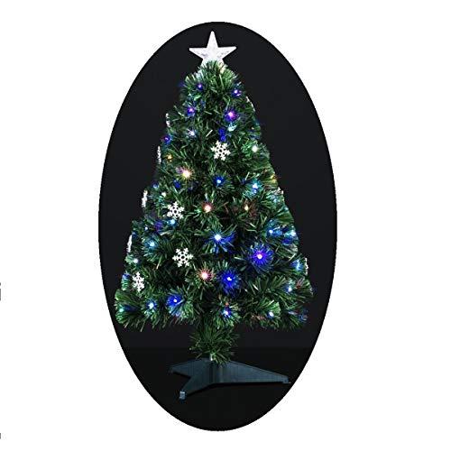 Albero di Natale artificiale luminoso con fibra ottica a luce variabile + 14 fiocchi di neve luminosi + 88 lampadine LED – consegnato col piede – Altezza: 90 cm