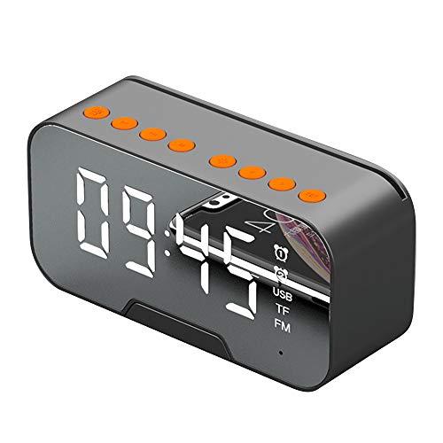 WEEA Reloj Despertador Digital Multifunción Reloj Musical con Espejo Led Altavoz Bluetooth Inalámbrico Portátil con Función de Soporte para Teléfono