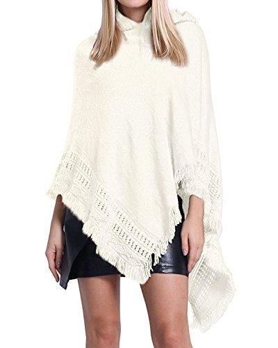 SUNNYME Damen Strick Poncho Cape Überwurf V-Ausschnitt Batwing Crochet Hoodie Strickjacken Weiß One Size