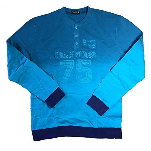 Nottingham Pigiama in cotone jersey lungo uomo art. PG21731-50 (L), Blu royal