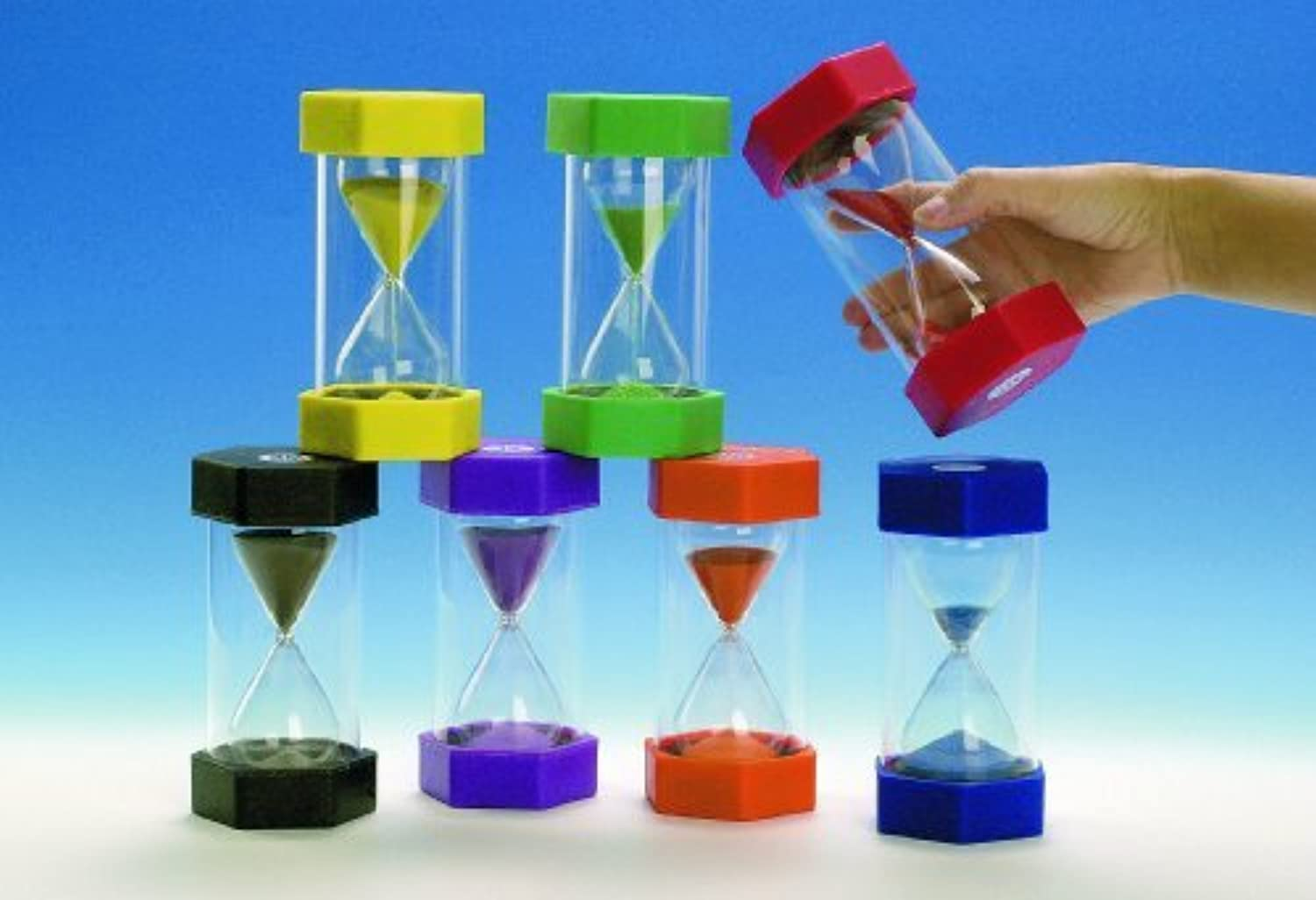 Tink n Stink Set of 7 Large Sand Timers  1, 2, 3 ,5 ,10 ,15 ,30 Minutes