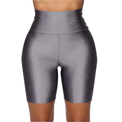 FeMereina Mujer Pantalones Cortos de Motociclista Elásticos Ajustados, Neón Brillante de Cintura Alta Pantalones Cortos Calientes Atractivos Leggings Active Gym Workout Yoga (A Gris, S)