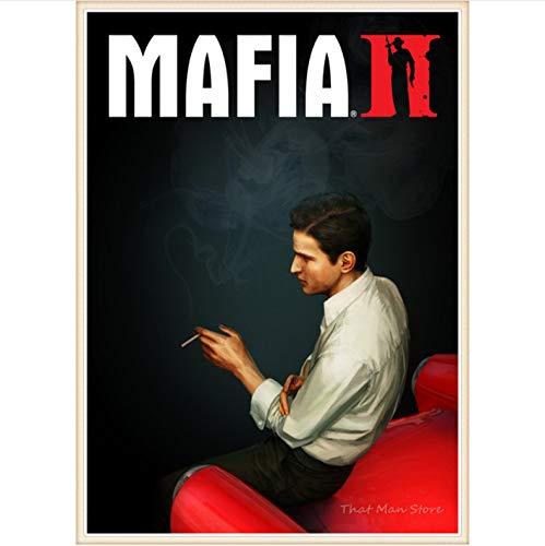 meilishop Drucken Auf Leinwand Rahmenloses Gemälde Mafia 2 3 Leinwand Poster Drucken Videospiel Klasse Zuhause Wohnzimmer Dekor Tapete A559 (50X70Cm) Ohne Rahmen