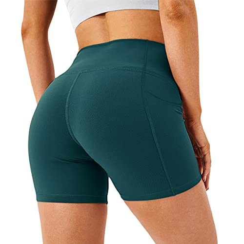 H HIAMIGOS Pantaloncini Sportivi Donna Calzamaglia Yoga Shorts Push Up Pantaloni Estivi Corti Vita Alta per Corsa Allenamento Palestra Running Fitness Gym Ginnastica Petrol Small