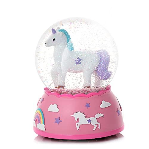Shatterproof Snow Globe for Kids - Unicorn Gifts for Girls | Musical Snow Globe - Plastic Snow...