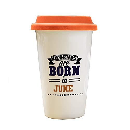 iKraft Printed Travel Mug with Red Lid | Ceramic Tumbler | Birthday Return Gift for Best Friend | Gift for Traveler | Ideal for Tea,Coffee,Beverage,Liquid Refreshment,Brew-12 Oz [350 ml] (June)