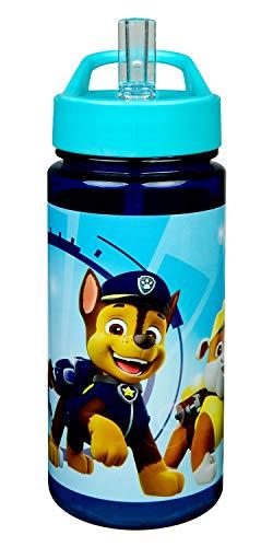 Scooli PPAT9913 Aero Trinkflasche aus Kunststoff mit integriertem Strohhalm und Trinkstutzen, Paw Patrol, BPA und Phthalat frei, ca. 500 ml