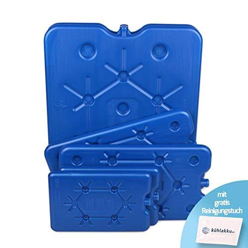 Kühlakku 6er Pack 2 x 800g, 2 x 400g und 2 x 200g Freezeboards, Flache Kühlakkus für schnelles Einfrieren, 12h Kühlleistung für Kühlboxen und Kühltaschen, blau mit gratis Kühlakku Reinigungstuch