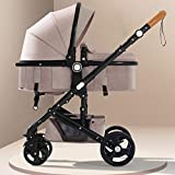Baby Stroller Can Sit Reclining Folding Light Two-Way Four-Wheel Shock Absorber Baby Stroller (Color : Khaki)