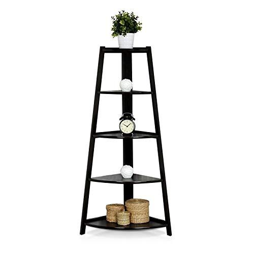 5 Tier Corner Shelf Stand Wood Display Storage Home Furniture Ladder Bookcase bathroom shelves, Organiser Unit for Home, Living Room, Bedroom, Balcony, Black